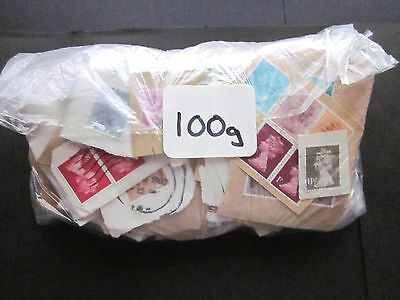 100 GRAMS OF USED GB CHARITY MIX KILOWARE MOSTLY DEFINITIVES & MAINLY PRE 1990.