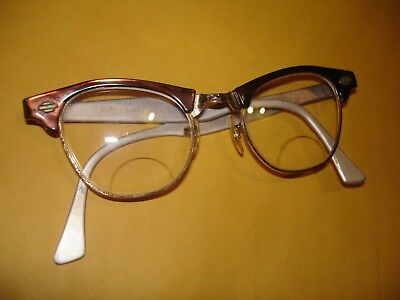 Vintage Zylite aluminum  Cat Eye Frame Glasses Rockabilly cat eyed