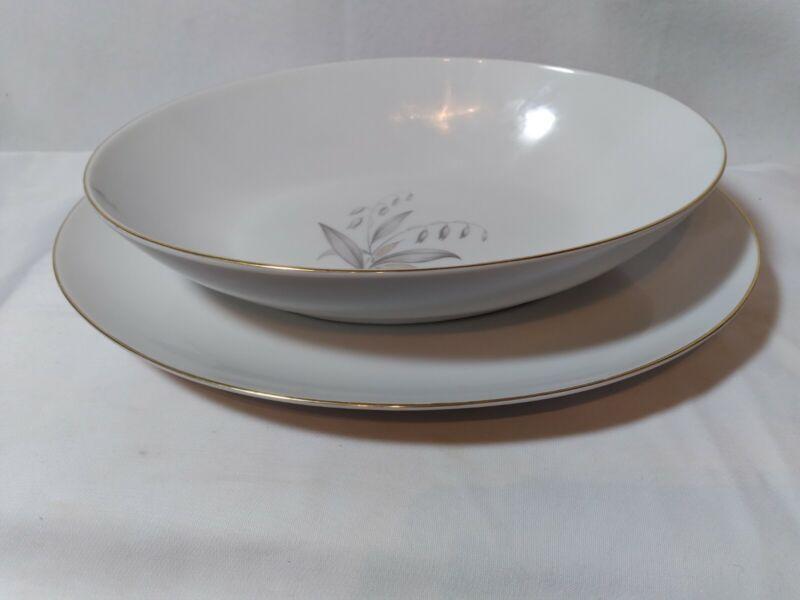 Kaysons 1961 Fine China Golden Rhapsody Vegetable Serving Bowl & Platter Set