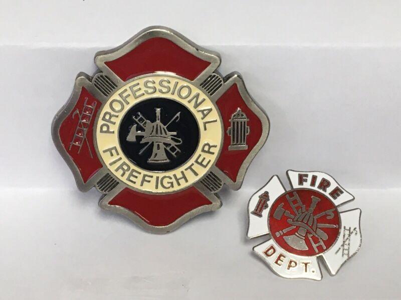 Vintage Professional Fire Fighter Enameled Belt Buckle & Fireman Lapel Pin
