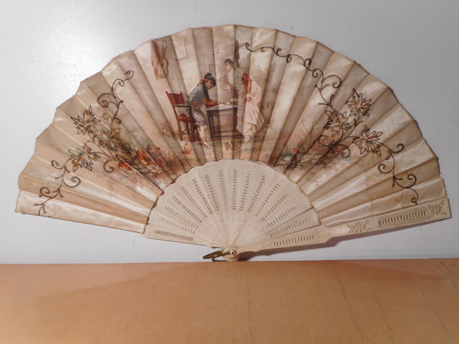 Eventail ancien 19 siècle tissus soie décor peint scène galante monture ajourée