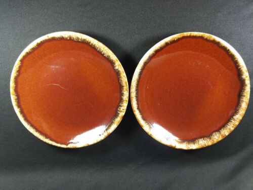 2 Hull Brown Drip Glaze Oven Proof Dinner Plates