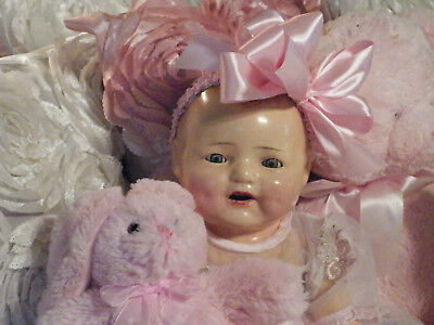 """HAPPY """"DIMPLES"""" BABY Large 20"""" Antique Composition Doll Blue Eyes Teeth Jointed"""