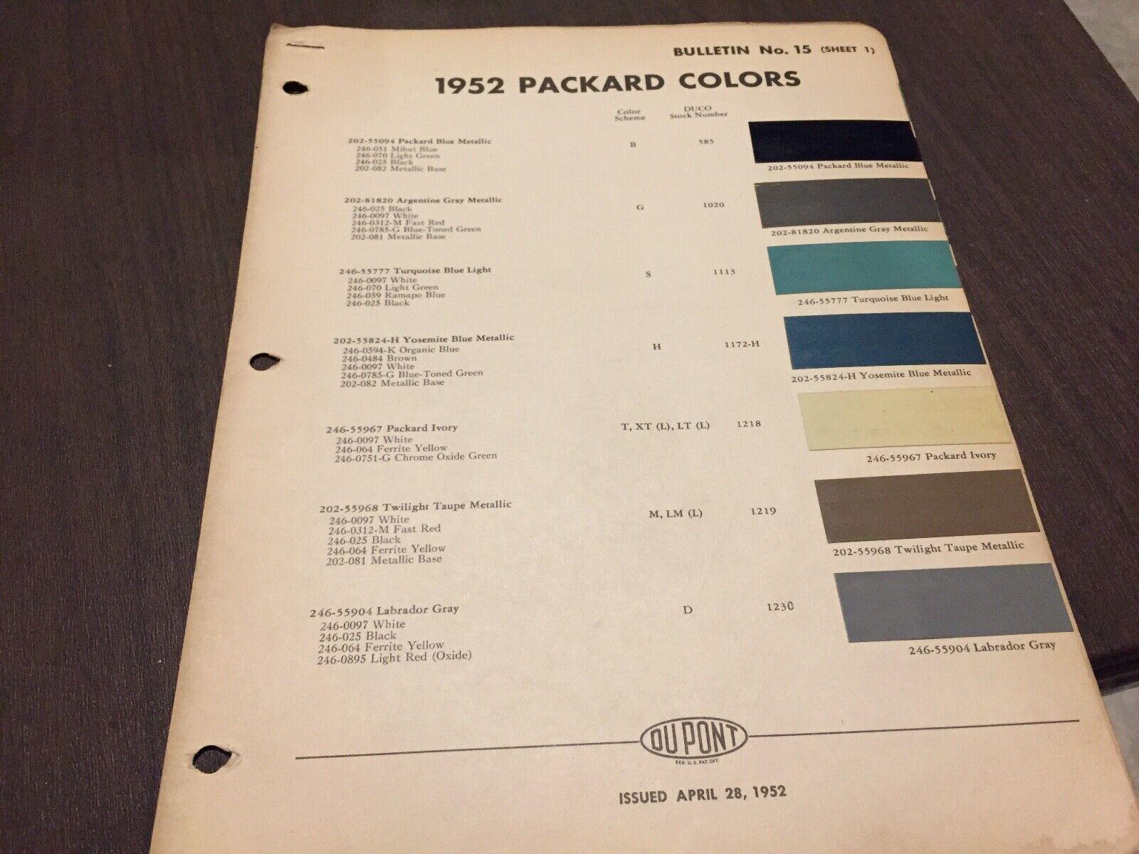 1952 PACKARD . PAINT CHIPS.    ORIGINAL CHART