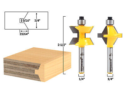 Small 2 Bit Tongue and Groove Edge Banding Router Bit Set - 1/4