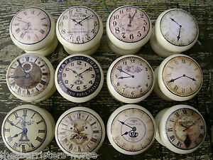cream clocks vintage chic cupboard door drawer knobs handles wooden