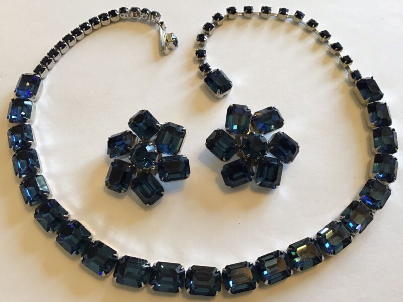 VINTAGE WEISS SIGNED SAPPHIRE BLUE RHINESTONE NECKLACE & EARRINGS