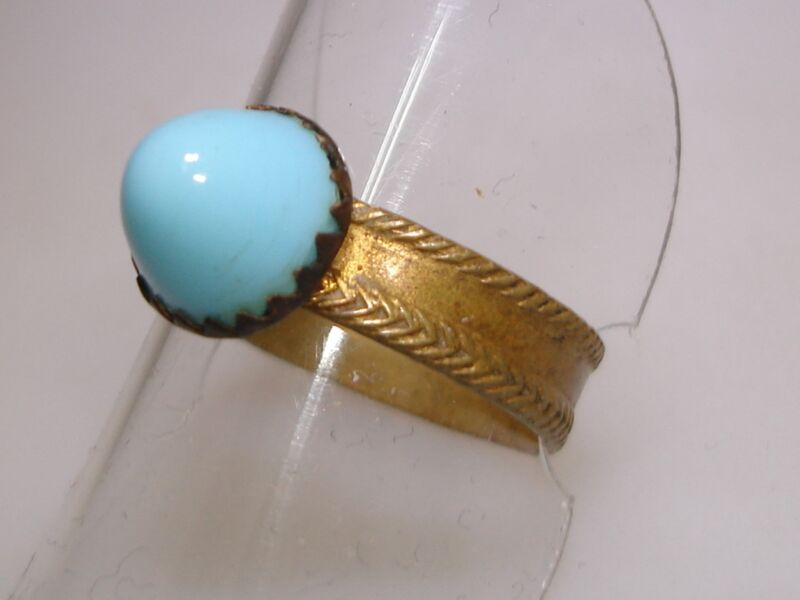 ANTIQUE ART DECO BRASS W/GOLD WASH BULLET OR HIGH DOME BLUE CABOCHON RING!