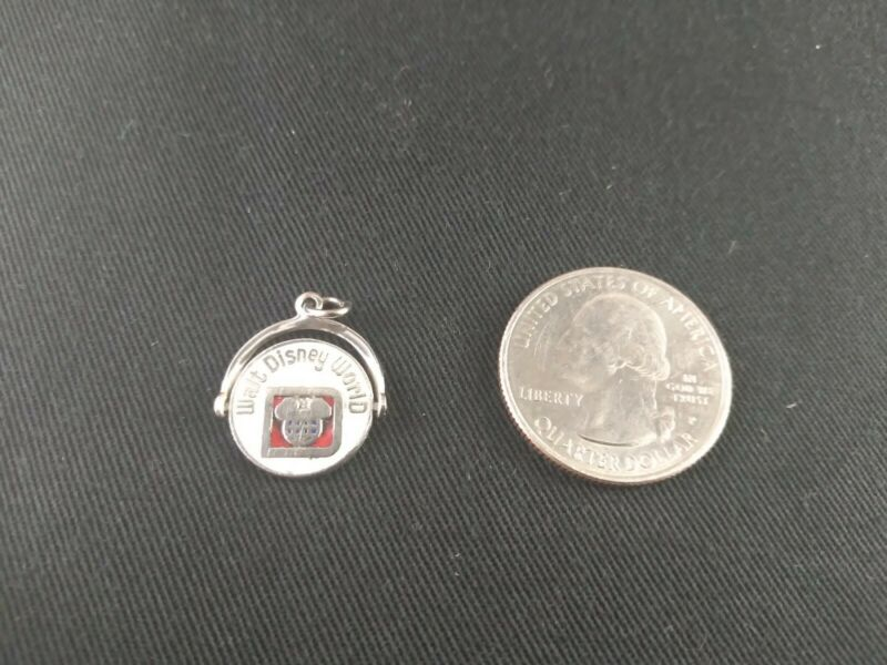 Walt Disney World Vintage 925 Sterling Silver Enamel Mickey Mouse Charm Pendant