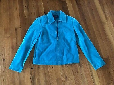 Catherine Stewart for Belle Pointe Teal Leather Jacket Women's Coat Size Small ()