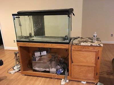 94 Gallon Saltwater Tank And Cabinet