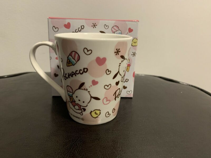Sanrio Pochacco Mug Cup Ceramic Logo Ice Cream Hearts with Matching Box