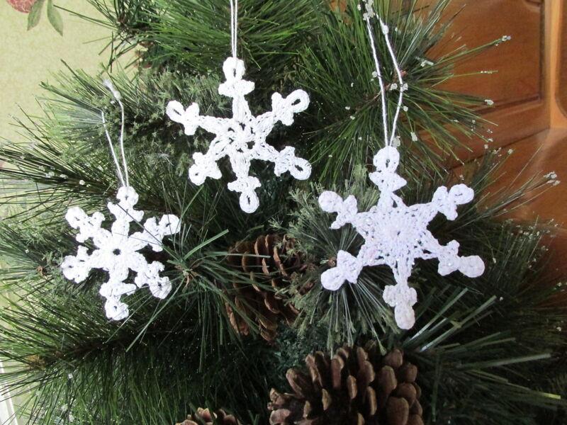 "12 Crocheted SNOWFLAKE ORNAMENTS Christmas white holiday snowflakes 3"""