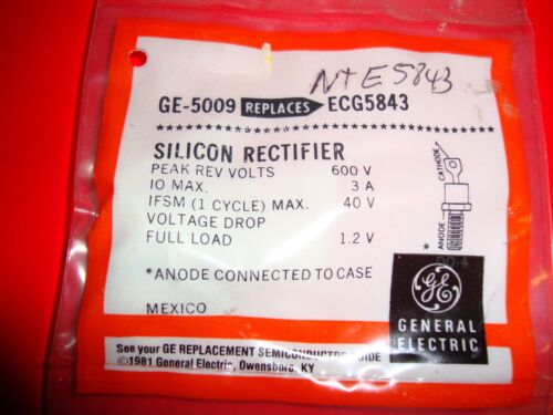 3 Amp 600 PRV silicon rectifier GE-5009 (equal to NTE5843)