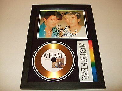 GEORGE MICHAEL    ( WHAM  )  SIGNED FRAMED GOLD CD  DISC     wham