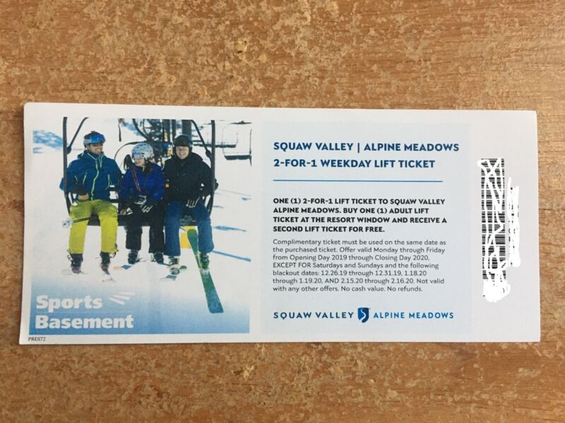 Squaw Valley / Alpine Meadows 2 for 1 lift tickets