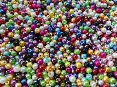 Perlas cristal nacarado 4 mm X 800 UNIDADES mezla de colores abalorios