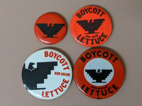 Vintage Lot of 4 United Farm Workers Boycott Non-Union Lettuce Buttons UFW