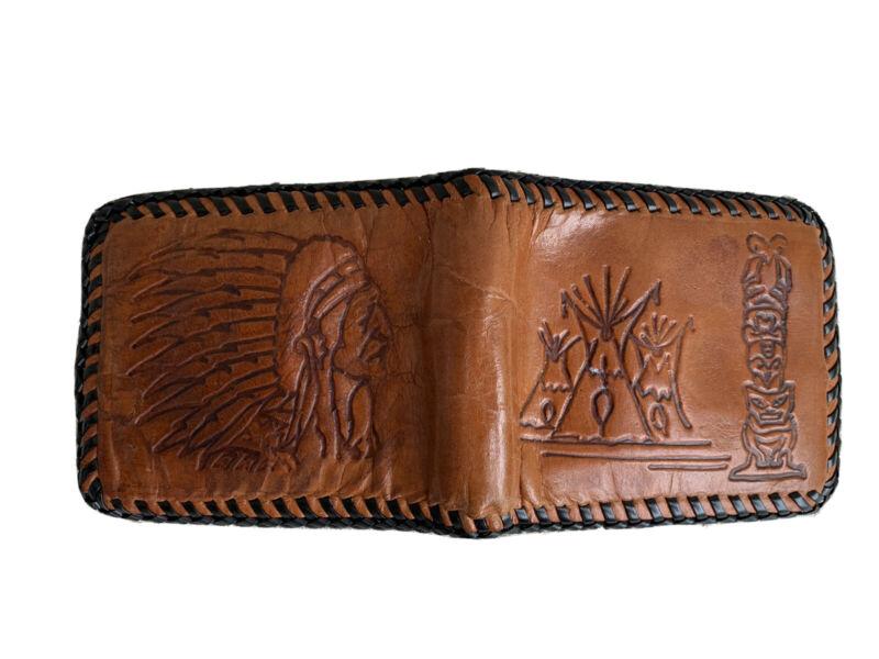 Vintage Handmade Leather Wallet-Indian Head embossed