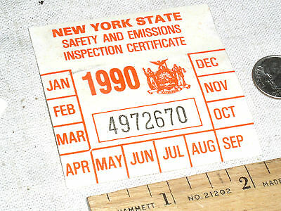 VINTAGE 1990 NY N.Y.S NEW YORK STATE CAR AUTO SAFETY EMISSION INSPECTION STICKER