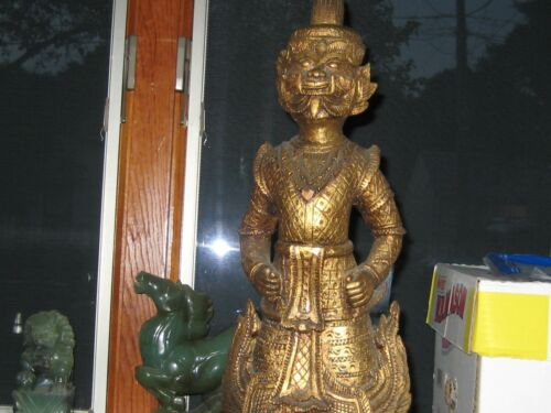 """TWO Vintage Hand Carved Wood Asian Thailand Tibetan Sculpture Statue 21"""" Tall"""