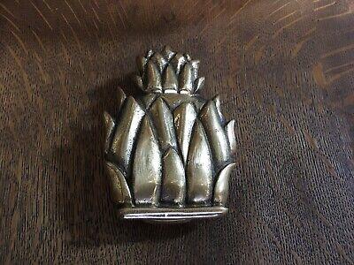 "Antique vtg brass PINEAPPLE door knocker ENGLAND 5""x 3-3/4"" Pineapple Brass Door Knocker"