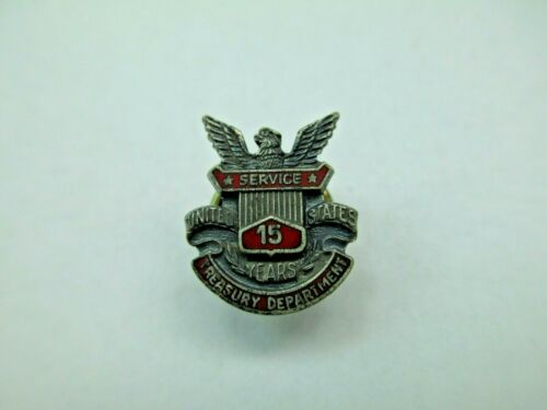 Vintage US Treasury Department 15 Years Service Pin Sterling Silver Enamel 409D