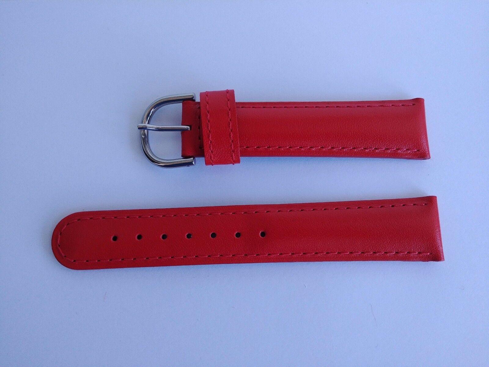 Alain Silberstein Uhrenarmband 20 mm Rot Kalbleder mit Schliesse