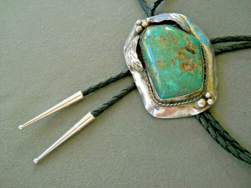 Southwestern Native American Indian Green Turquoise Sterling Silver Bolo Tie
