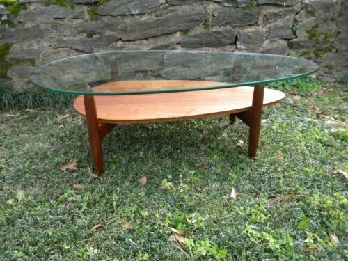 Mid Century, glass top coffee table