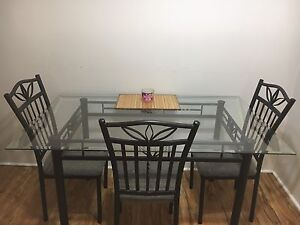 Iron Wrought Glass Table Top Dinning Set