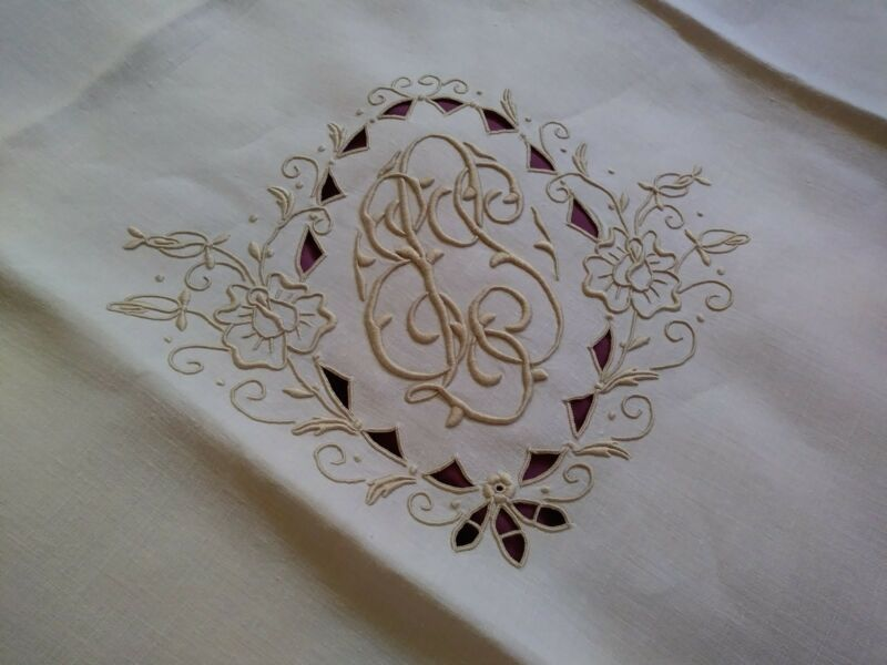 """High Quality Custom Embroidered Madeira Linen Tablecloth 42"""" by 41"""""""