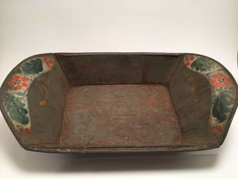 Hand Painted Antique Toleware - New England Apple/Bread Holder