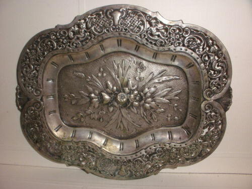 Antique Germany 800 silver repousse  tray angels cherubs and foliate decoration