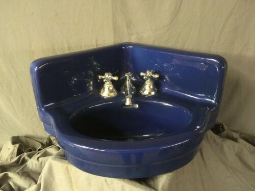 Antique Ceramic Cobalt Blue Porcelain Corner Sink Old Vtg Standard Bath 18-20E