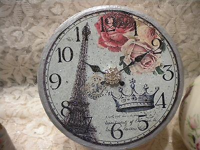 Shabby Chic / Vintage Paris Round Decorative Paper Mache Box