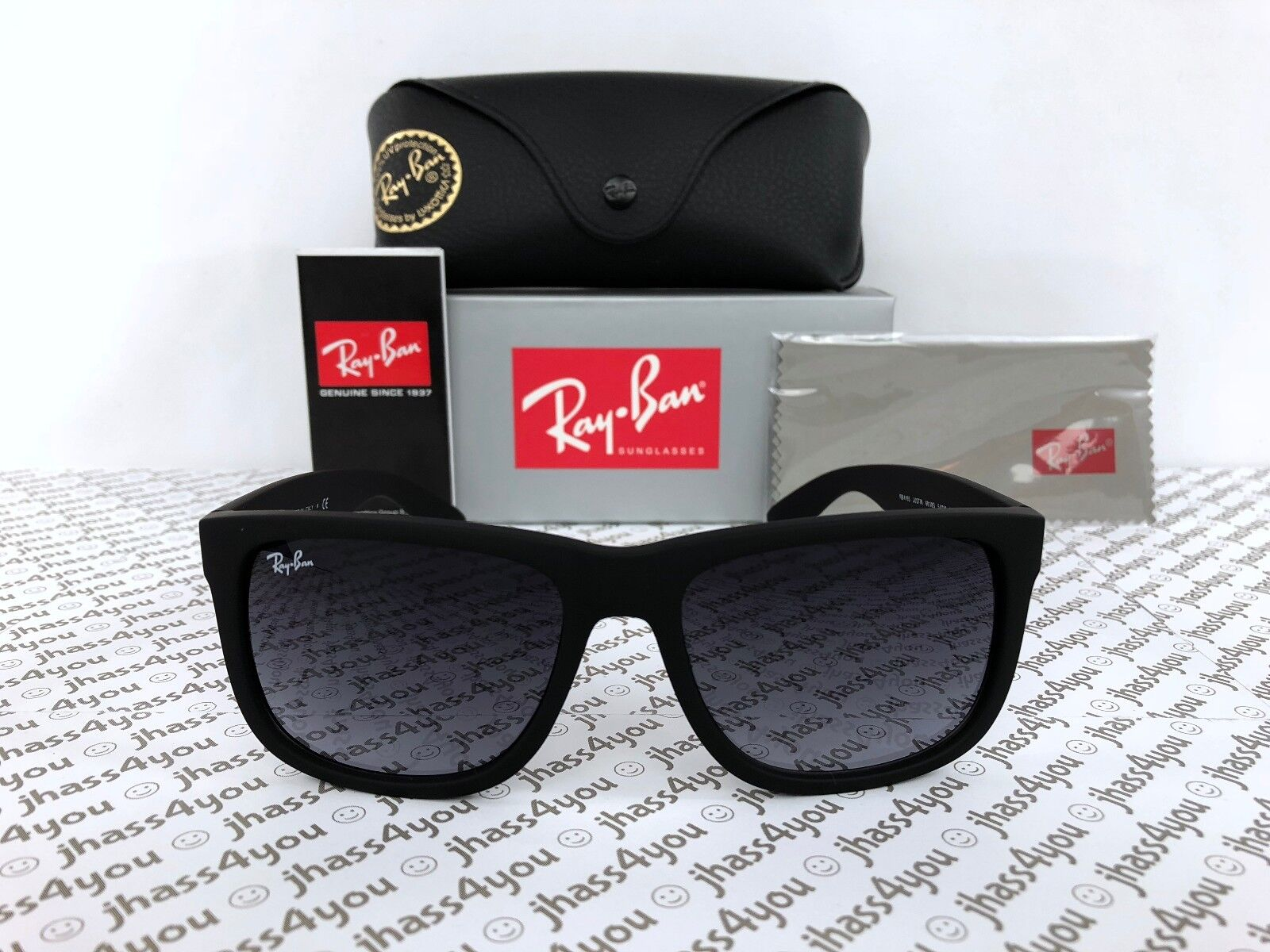 Ray-Ban JUSTIN - RUBBER BLACK Frame GREY GRADIENT Lenses 55m
