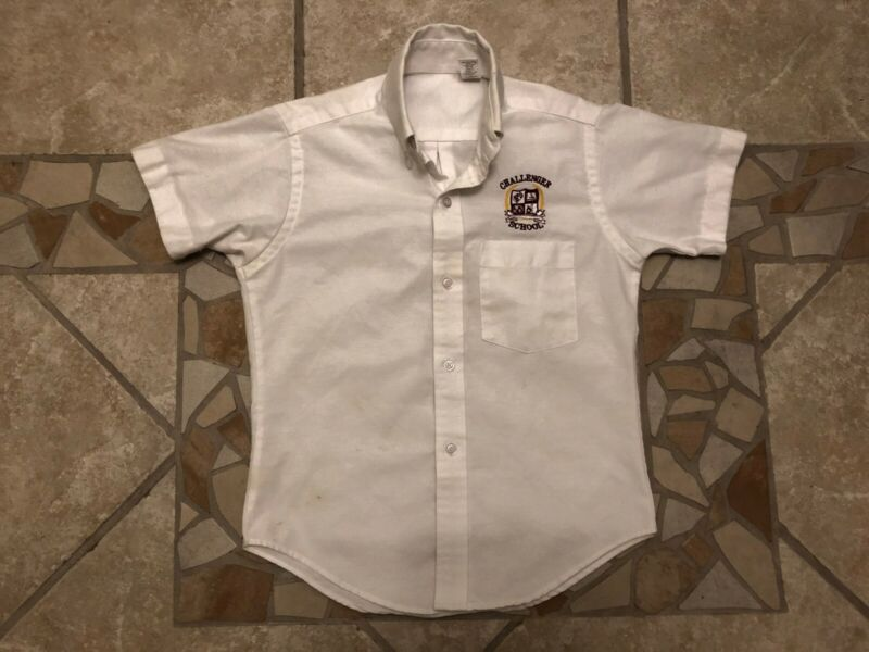 Challenger School White Short Sleeve Oxford Shirt Size Youth 10