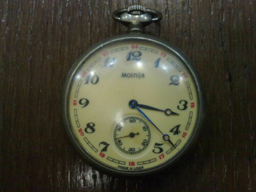 VINTAGE MOLNIJA  SHIP USSR SOVIET POCKET WATCH MOLNIJA
