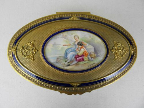 Sevres Style French Porcelain Hand Painted Figural Casket Jewelry Dresser Box