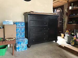 Black rub through wood dresser/wardrobe