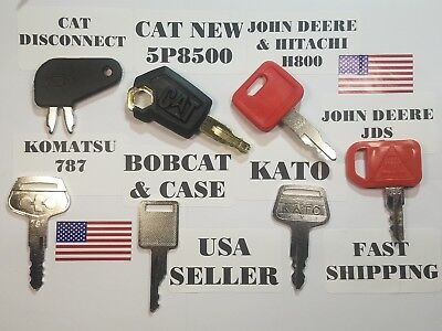 7 Equipment Keys Cat Caterpillar John Deere Kato Komatsu Bobcat Case