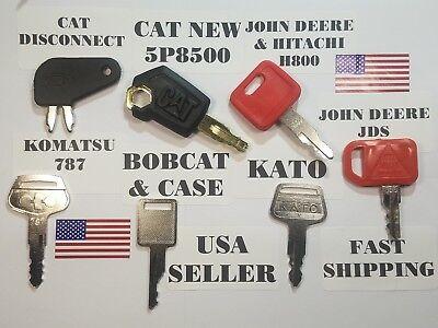 7 Heavy Equipment Keys Cat Caterpillar John Deere Kato Komatsu Bobcat