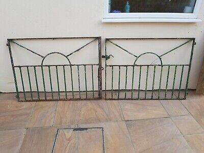 Wrought iron driveway gates retro design 8ft span x 3ft high