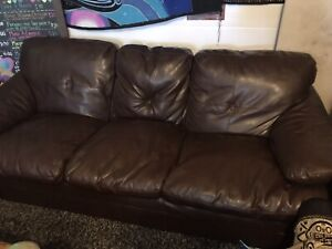 Cozy brown real leather couch