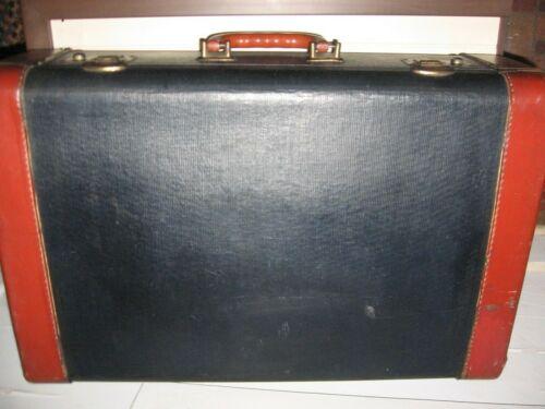 "VINTAGE1940 BLACK/BROWN HARD SIDED SUITCASE LUGGAGE - 21""X13""X7"""