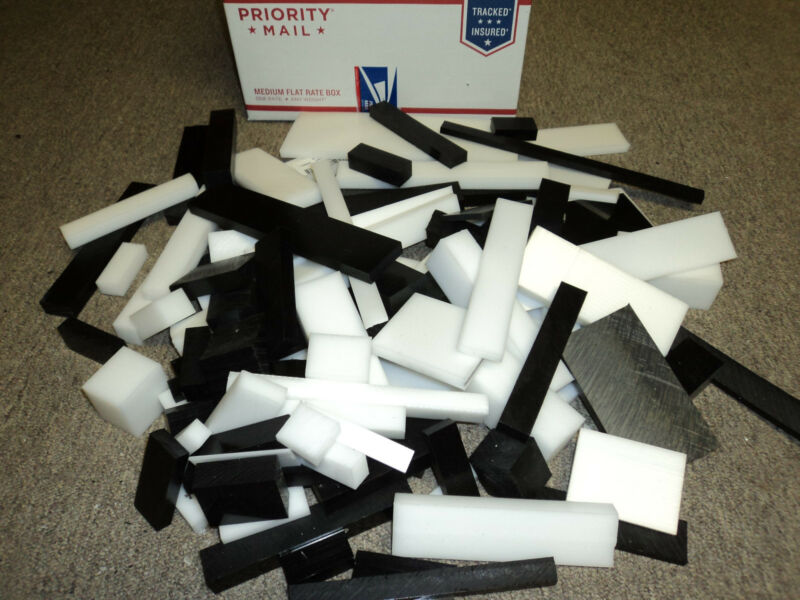 Plastic Delrin/ Acetal Assorted Lot, White & Black sheet & block 100+ pieces CNC