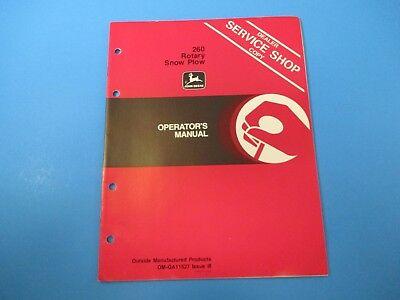 John Deere Operators Manual Om-ga11527 260 Rotary Snow Plow Issue I8 M5001