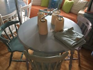 Light blue grey dining table w/4 mix & match chairs -available
