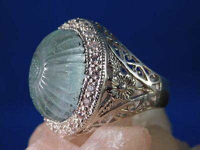 Gigantic Diamond Ring (Gigantic 18.64 ct. Hand Carved Aquamarine & Diamond 1920's Style)